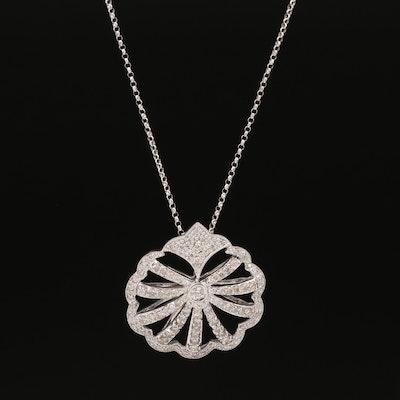 14K Diamond Scalloped Necklace