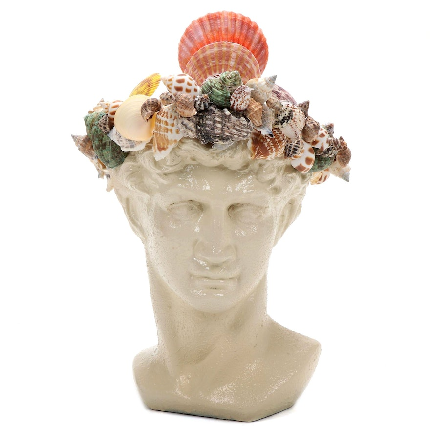 Painted Ceramic David Bust with Hand Crafted Crown of Sea Shells