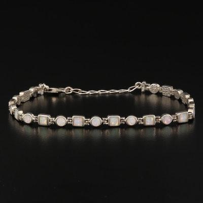 Sterling Silver Opal Geometric Bracelet