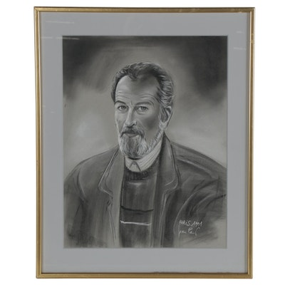 Charcoal Portrait Drawing of a Gentleman, 1991