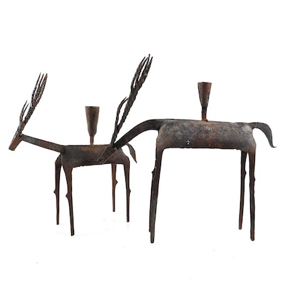 Pair of Metal Gazelle Figural Candle Holders