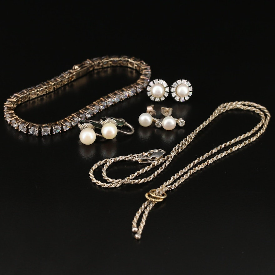 Sterling Silver Jewelry Featuring Pearls and Cubic Zirconia