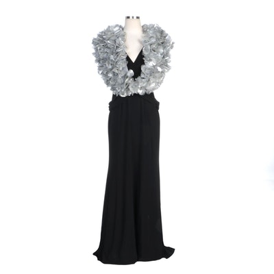 Alberto Makali Black Beaded Sleeveless Gown with Silver Rosette Shrug