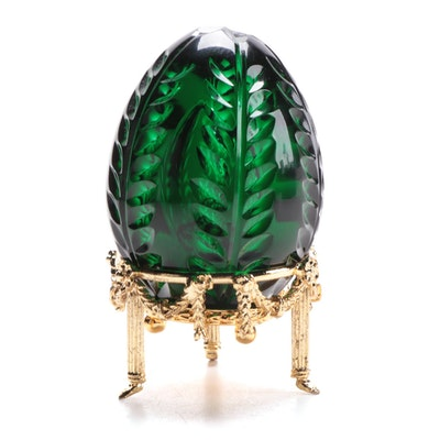 Fabergé Limited Edition Green Cut Crystal Egg with Stand