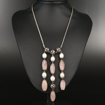 John Hardy Sterling Silver Rose Quartz and Pearl Necklace with 18K Accents