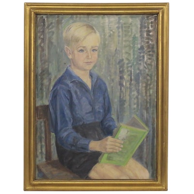 Portrait Oil Painting of a Boy Reading, Early 20th Century