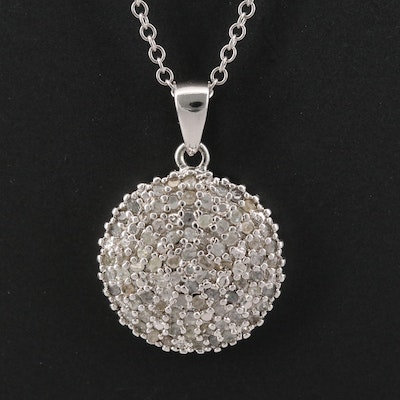 Sterling Silver Pavé Diamond Necklace