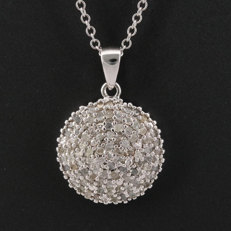 Sterling Silver Pavé Diamond Necklace