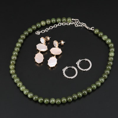 Sterling Serpentine Necklace, Cubic Zirconia Hoops with Mother of Pearl Earrings