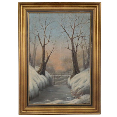 Snow Covered Landscape Oil Painting, 1927