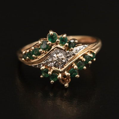 10K Diamond and Emerald Bypass Ring