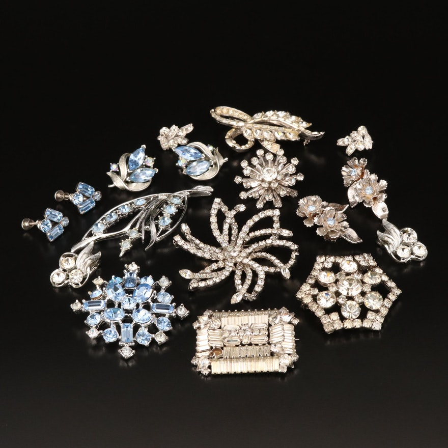 Vintage Rhinestone Brooches and Non-Pierced Earrings Featuring Eisnberg