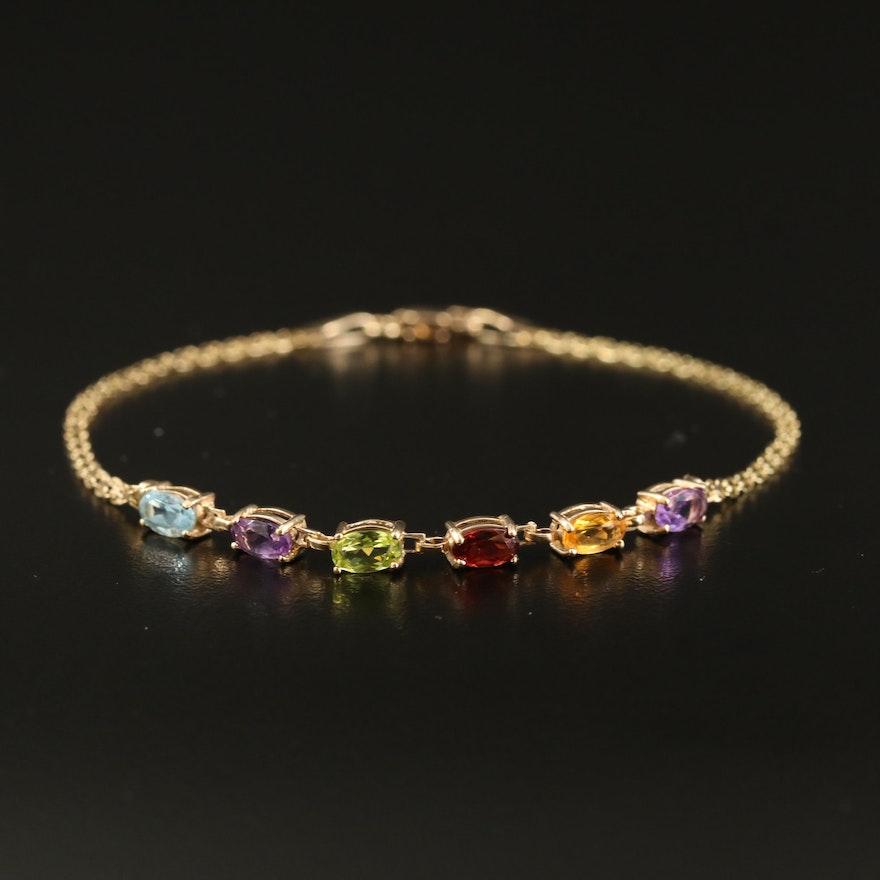 10K Gemstone Bracelet with Topaz, Peridot and Amethyst