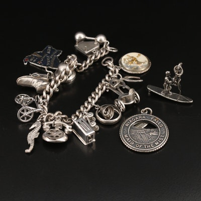 Vintage Sterling Silver Charm Bracelet with Articulated Charms