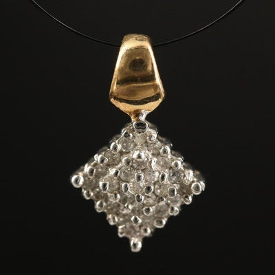 14K Diamond Square Pendant