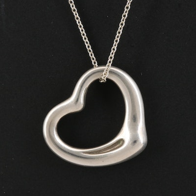 "Elsa Peretti for Tiffany & Co. Sterling Silver ""Open Heart"" Pendant Necklace"