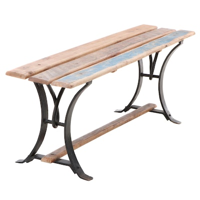 """Arhaus """"Regency"""" Rustic Style Solid Wood and Iron Bench"""
