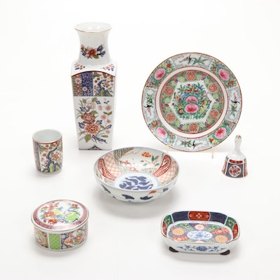 Satsuma and Rose Canton Style Decorative Tableware, Mid to Late 20th Century