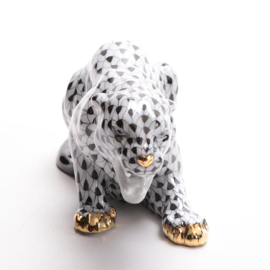 "Herend Black Fishnet with Gold ""Panther"" Porcelain Figurine"