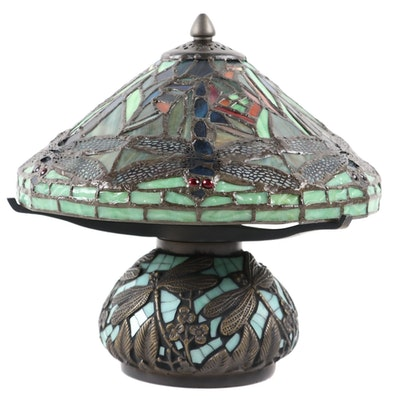 Slag Glass Accent Lamp with Dragonfly Motif, 21st Century