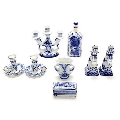 Russian Gzhel Hand Painted Porcelain Candleholders, Vase, Trinket Box and More
