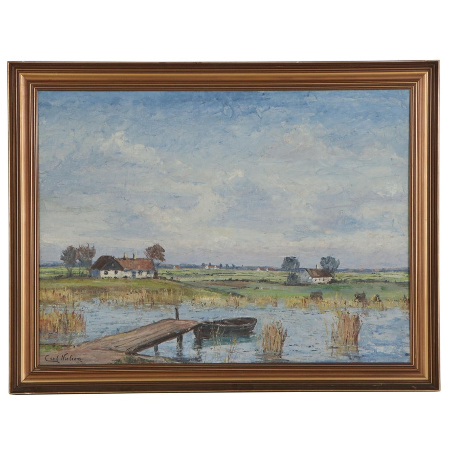 Carl Nielsen Landscape with Pond Oil Painting