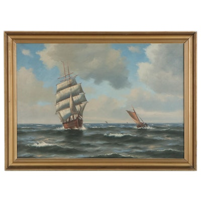 Nautical Seascape Oil Painting with Ships at Sea, Mid-20th Century