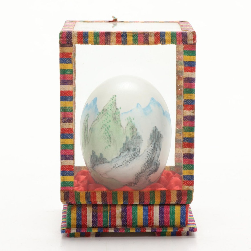Chinese Hand Painted Duck Egg in Glass Box, Mid to Late 20th Century
