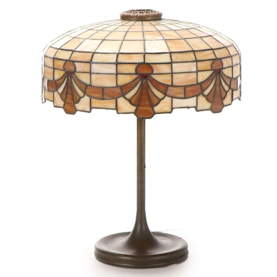 Swag Design Slag Glass Table Lamp, Possibly Lamb Bros & Greene, Early 20th C