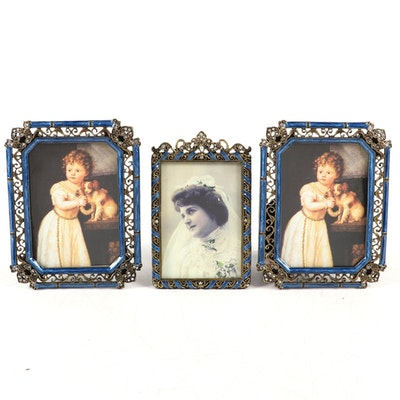 Victorian Style Enamel and Rhinestone Decorated Picture Frames