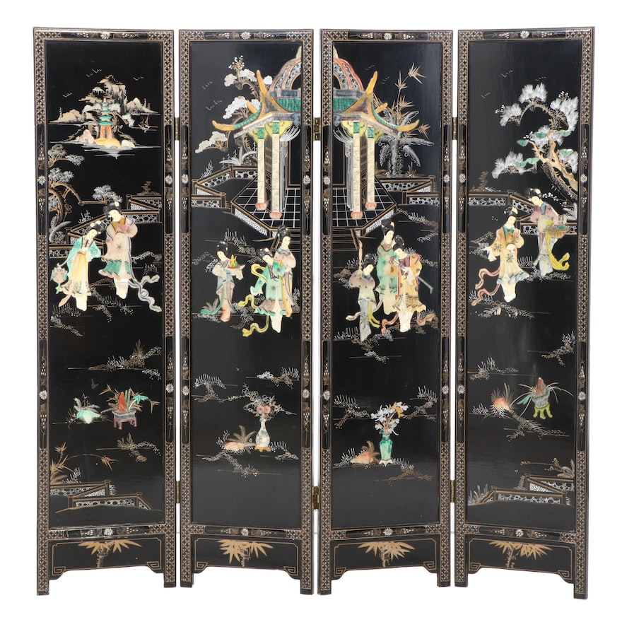 Chinese Lacquered and Paint-Decorated Wood Four-Panel Screen