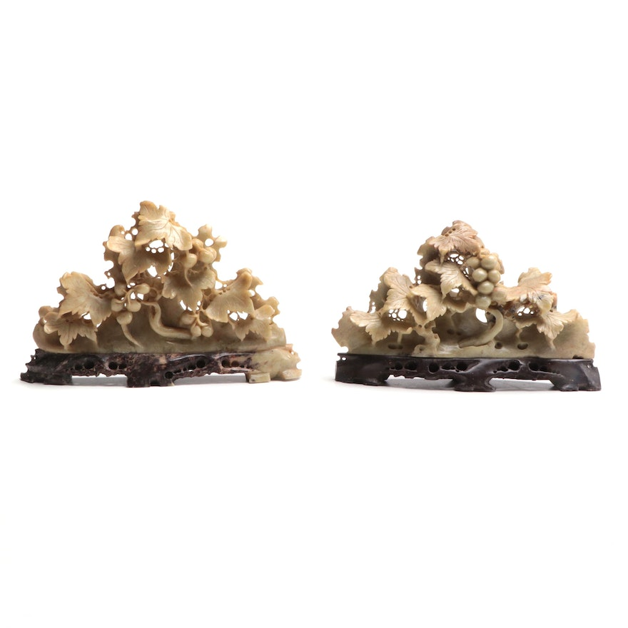 Pair of Chinese Carved Soapstone Grape Vine Shelf Accents