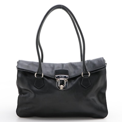 Prada Vitello Easy Black Leather Shoulder Bag