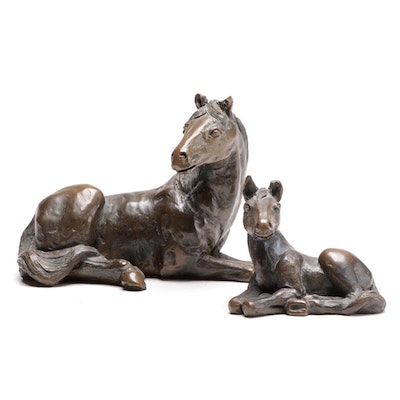 Cast Bronze Mare and Foal Figurines, Late 20th Century