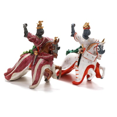 Fusco Martini Italian Ceramic Jousting Knight Figurines