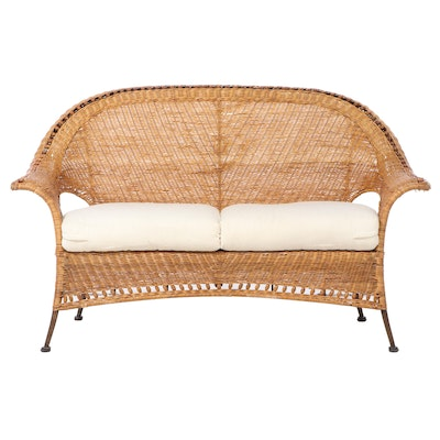 Woven Wicker Love Seat with Seat Cushions, Late 20th Century