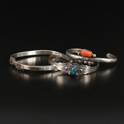 Sterling Silver Coral and Turquoise Cuffs and Hinged Bangle