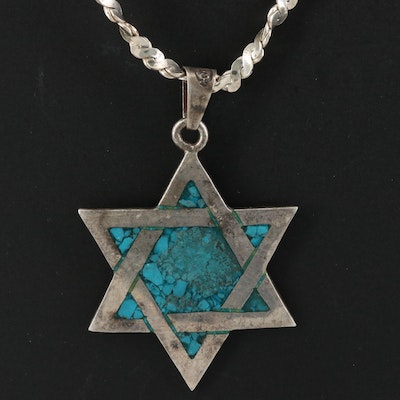 Taxco Juvenal Sterling Turquoise Star of David Necklace