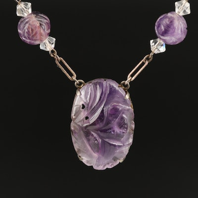 1930s Sterling Amethyst and Glass Stationary Necklace