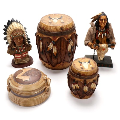 Earthenware Lidded Jar and Composite Jars and Figures Depicting Native Americans