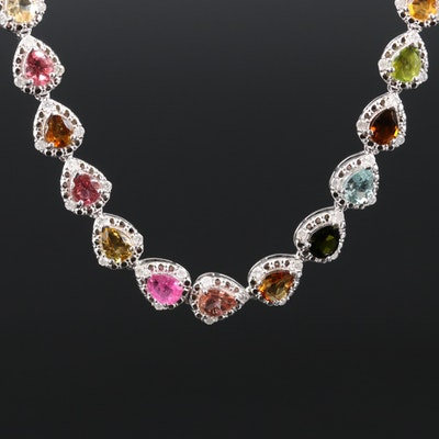 Sterling Silver Tourmaline and Diamond Necklace