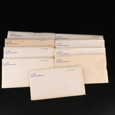 Nine 1980 U.S. Mint Uncirculated Sets