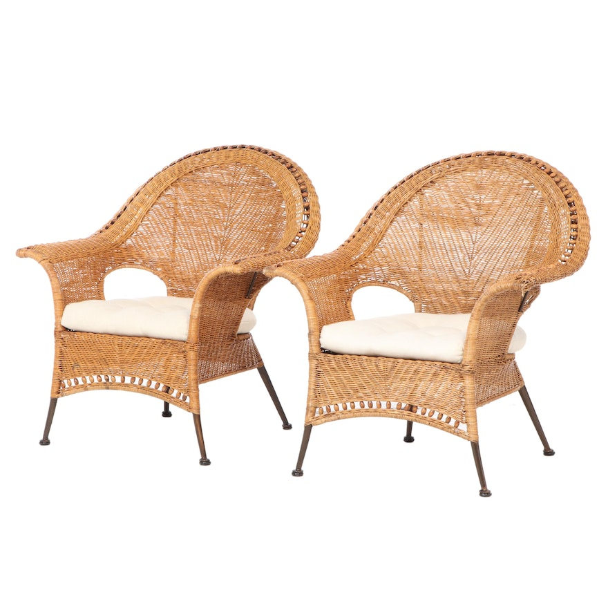 Pair of Wicker Armchairs with Seat Cushions, Late 20th Century