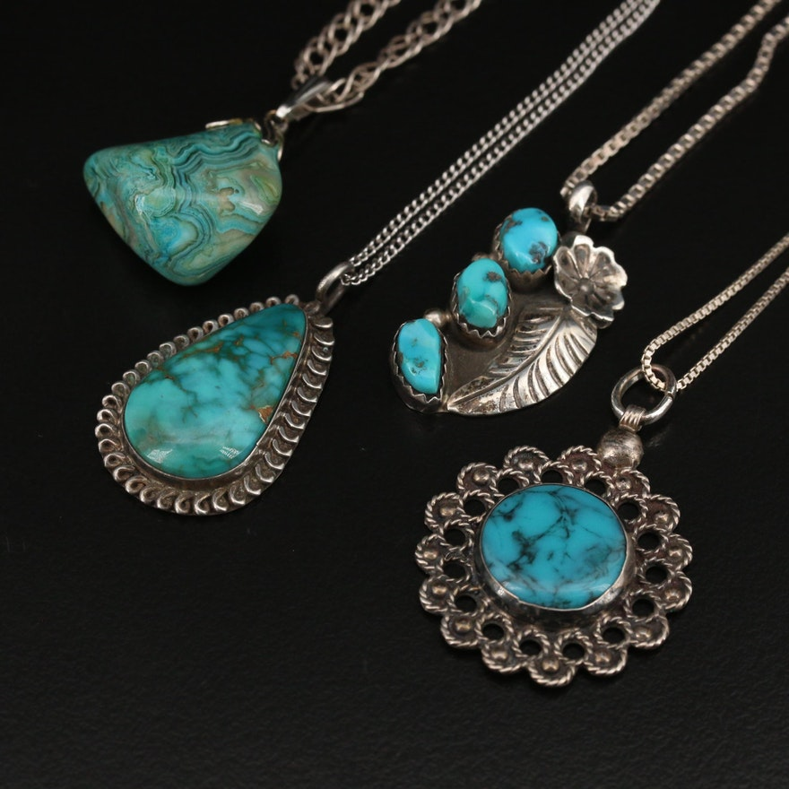 Sterling Necklaces with Turquoise and Agate