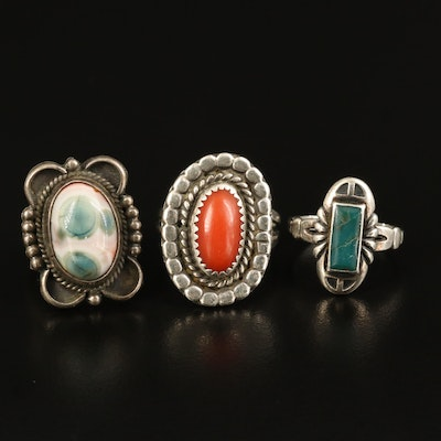 Sterling Rings with Jasper, Coral and Turquoise