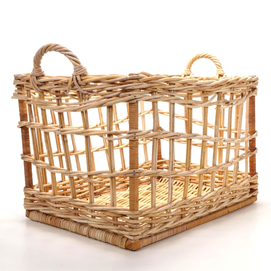Oversized Open Weave Rattan Floor Basket with Handles