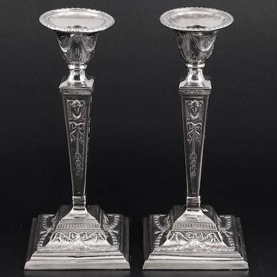 Silver Plate Empire Style Candlesticks with Bow and Garland Motif