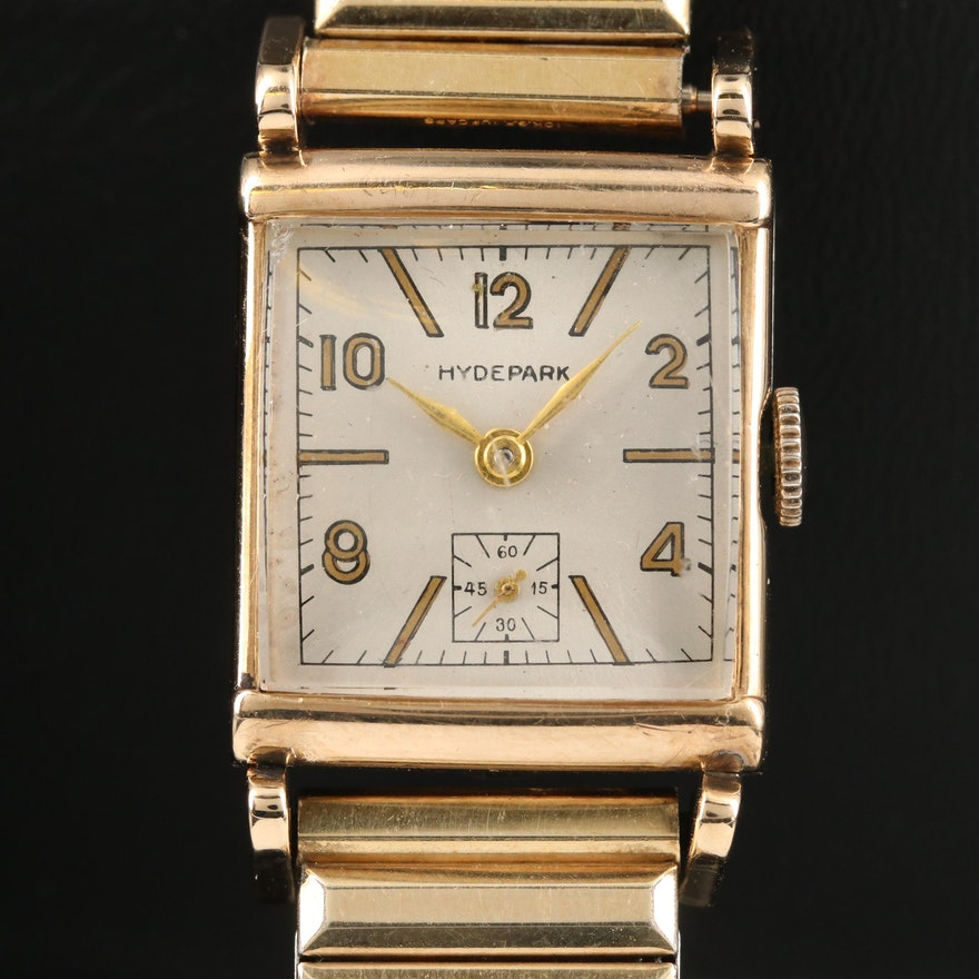 10K Gold and Stainless Steel Hyde Park Swiss Stem Wind Wristwatch