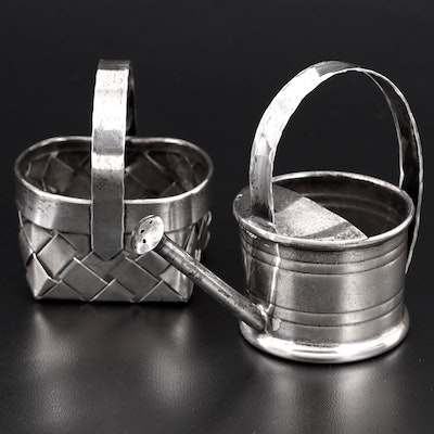 Cartier Sterling Silver Miniature Watering Can and Woven Basket