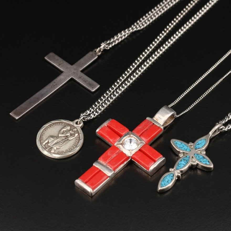 Religious Jewelry Featuring Sterling St. Christopher Medal and Cross Pendants